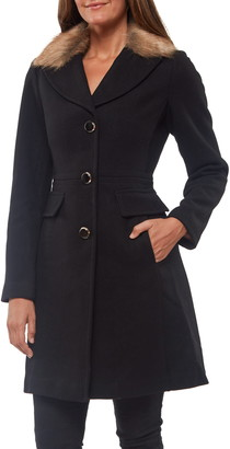 Kate Spade Faux Fur Collar Wool Blend Coat