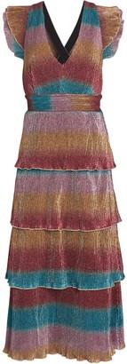 Saylor Marika Striped Plisse Midi Dress