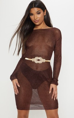 SWAGGER Brown Plunge Back Metallic Knitted Dress