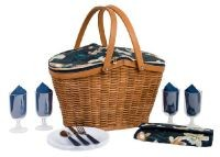 Navigate - Paradise Flowers 4 Person Picnic Basket - Blue/Green/Natural