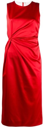 P.A.R.O.S.H. Twisted-Waist Sleeveless Satin Midi Dress
