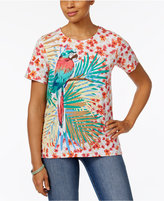 Alfred Dunner Parrot Graphic Floral-Print Top