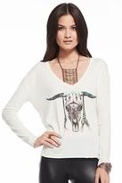 Chaser LA Tribal Skull L/S V-Tee in White