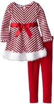 Bonnie Baby Bonnie Jean Girls Sequins Christmas Santa Dress Legging Outfit, 6-9M