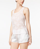 Linea Donatella Stretch Lace Tank Top and Bride-Emboidered Shorts Pajama Set