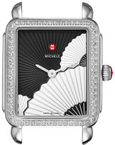 Michele Deco II Midsize Diamond Fan Watch Head, Black/White