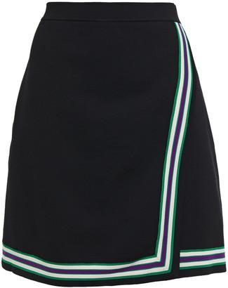 Sandro Elodie Wrap-effect Striped Stretch-knit Mini Skirt