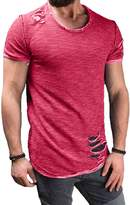 XARAZA Men's Short Sleeve Crew Neck Hipster Slim Fit Fitness T-shirt Tops with Ripped Holes