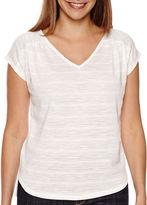 Liz Claiborne Short-Sleeve Striped V-Neck Tee - Tall
