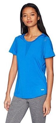 XOXO Women's Athletic Stretch Jersey Tee Shirt with Mesh Panels