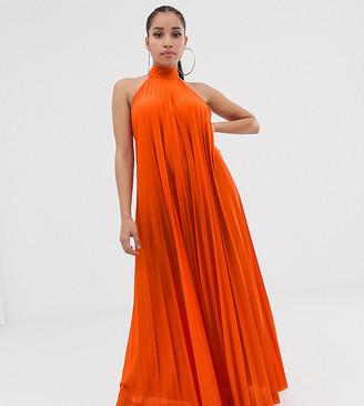 Asos DESIGN Petite backless halter pleated maxi dress-Multi