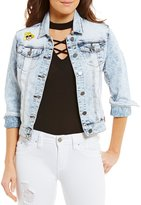 YMI Jeanswear Acid Wash Patchwork Woven Stretch Denim Jacket