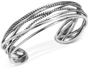 Carolyn Pollack Polished & Rope Multi-Strand Cuff Bracelet in Sterling Silver