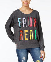 Rampage Juniors' Faux Real Oversized Graphic Sweatshirt