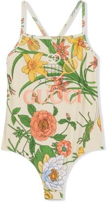 Gucci Kids Gucci Tennis floral print swimsuit