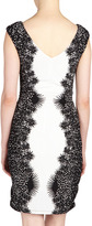 Max & Cleo Eve Lace-Print Knit Dress, Black Comb