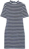 Alexander Wang Striped Cotton-blend Terry Mini Dress - Navy