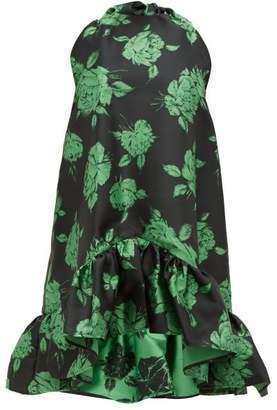 MSGM Ruffled Floral-jacquard Mini Dress - Womens - Black Multi