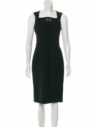 Oscar de la Renta 2017 Virgin Wool Dress Black