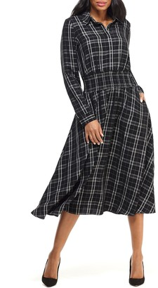 Maggy London Plaid Long Sleeve Shirtdress