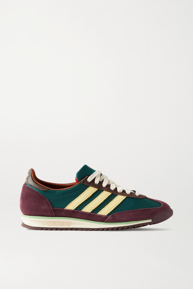 adidas + Wales Bonner Sl 72 Shell, Leather And Suede Sneakers - Emerald
