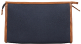 John Lewis Canvas Leather Wash Bag, Navy