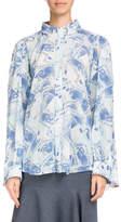 Balenciaga Button-Front Euro-Printed Silk Crepe Double Shirt