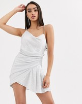 Asos Design DESIGN sequin Drape mini dress