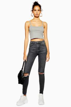 Topshop Womens Washed Black Rip Jamie Jeans - Washed Black