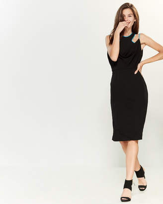 Versace Black & Turquoise Halter Dress