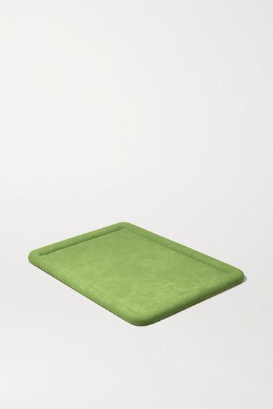 LAUREN RUBINSKI Suede Jewelry Tray - Army green
