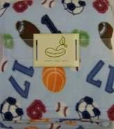 Pem America Micro Polar Baby Fleece Blanket Blue Sports Theme BeanSprout