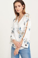 Dynamite Floral V-Neck Blouse with Tied Sleeves