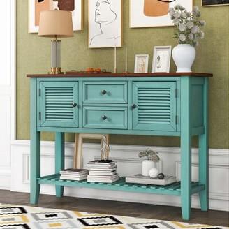 "Longshore Tides Sorrells 46"" Console Table Table Base Color: Retro Blue, Table Top Color: Brown"