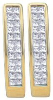 Saris and Things 14kt Yellow Gold Womens Princess Diamond Double Row Invisible-set Hoop Earrings 1/2 Cttw