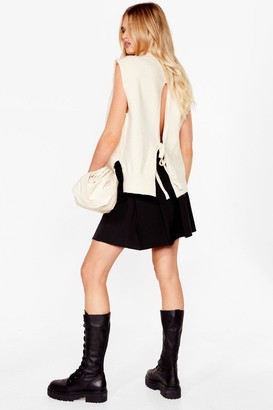 Nasty Gal Womens Back and Forth Knitted Tie Sweater Vest - Cream