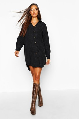 boohoo Distressed Baby Cord Shirt Dress