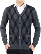 Nidicus Men Argyle Knitwear Soft-touch Light V-neck Cardigan Sweater Thermal XS