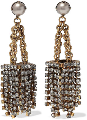 Elizabeth Cole Burnished 24-karat Gold-plated Faux Pearl And Crystal Earrings