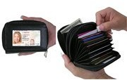 Etel Products Rfid Security Wallet Leather Accordion Flip Credit Card Zipper Scanning Blocks