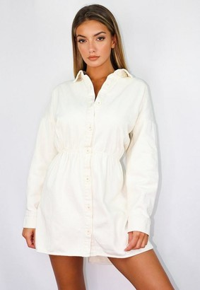 Missguided Oversized High Low Denim Shirt Dress