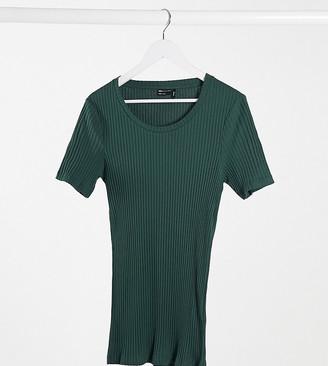 ASOS DESIGN Tall muscle fit rib t-shirt in dark green