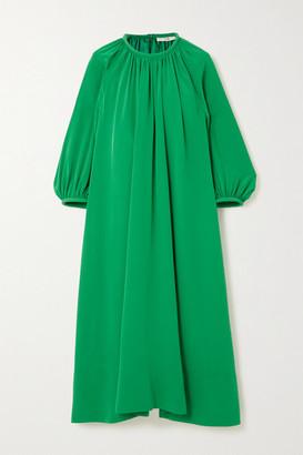 Tibi Gathered Silk Midi Dress - Green
