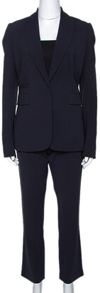 Joseph Navy Blue Stretch Crepe Earl/Ben Pant Suit M
