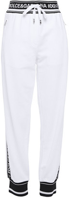 Dolce & Gabbana Monogram-trimmed French Cotton-terry Track Pants