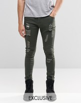 Liquor & Poker Skinny Jeans Biker Zip Distressed Khaki