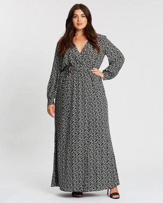 Missguided Curve Floral Buckle Belted Slit Maxi Dress