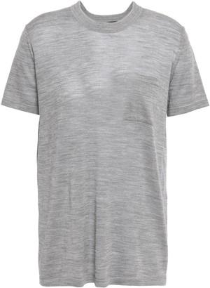 Alexander Wang Melange Wool And Silk-blend T-shirt