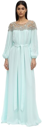 Marchesa CAFTAN DRESS W/ EMBROIDERED SHOULDERS