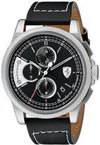 Ferrari Men's 0830275 FORMULA ITALIA S Stainless Steel Watch with Black Leather Band